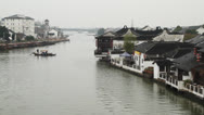 Stock Video Footage of Zhujiajiao traditional wooden boat across the river