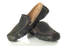 pair of  black mens moccasins - stock photo