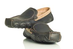 pair of modern black mens shoes moccasins - stock photo