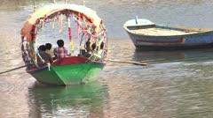 Boating in Mandakini River at Ram Ghat Stock Footage