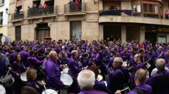 Calanda drummers during easter spanish tradition Stock Footage