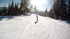 Snowboarding with a friend - stock footage