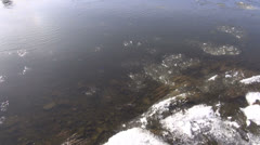 Floating ice-drift in spring river Stock Footage