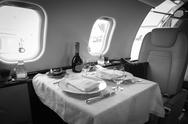 Stock Photo of luxury interior aircraft business aviation