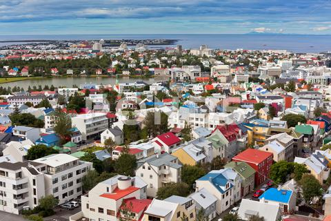 Stock photo of capital of iceland, reykjavik, view