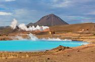 Geothermal power station and bright turquoise lake in iceland Stock Photos