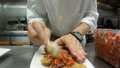 Chef making Bruschetta Stock Footage