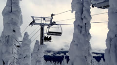 Ski resort chairlift Stock Footage