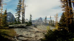 emerge from forest to cliffs in mountains - stock footage