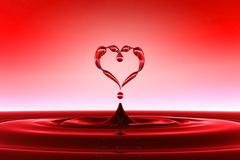 Heart shaped red water drops Stock Illustration