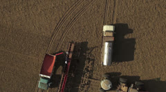 Aerial - Farmers filling seed bins Stock Footage