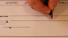 Writing Cheque Stock Footage
