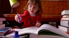 Baby Girl Writes Stock Footage