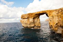natural rock arch azure window, gozo - stock photo
