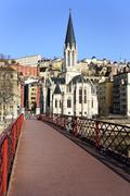 Stock Photo of view of lyon with red footbridge