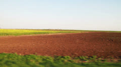 Yellow and green field from moving car Stock Footage