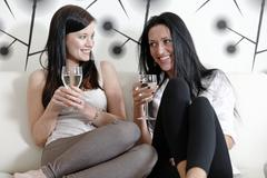 two friends chatting over wine - stock photo