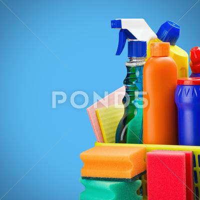 Stock photo of cleaners supplies and cleaning equipment