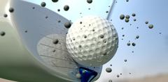 golf ball and club impact - stock illustration