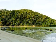 beautiful tropical beach when ebb tide and rainforest in andaman sea, thailan - stock photo