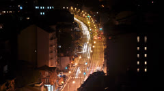 Busy city traffic in downtown during night (time lapse / timelapse) Stock Footage