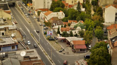 View of the busy street during the sunny afternoon near the city center Stock Footage