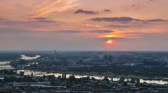 Sunset over the city, transition from day to night (time lapse / timelapse) Stock Footage