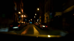 Fast ride through the city center during the night (time lapse / timelapse) Stock Footage