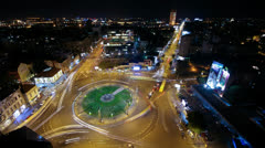 View of the busy avenues in one of the main squares in the city center Stock Footage