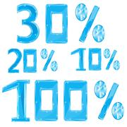 Numerals in ice percent Stock Illustration