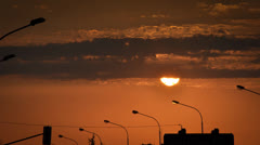 Sunset over the cityscape Stock Footage
