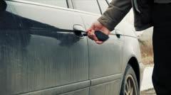 Man  trying to unlock the car door /episode 3/ Stock Footage
