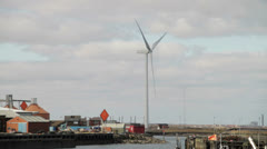 Wind turbine in marina Stock Footage