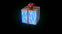 gift present box animation with gift-wrap tape - stock footage