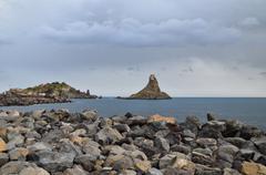 beach of rocks - stock photo
