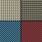 Carbon fiber, kevlar and decorative seamless patterns set Stock Illustration