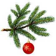 Pine tree branch with christmas ball Stock Illustration