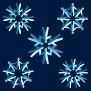 Set of origami people snowflakes Stock Illustration