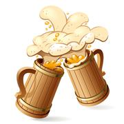 beer mugs - stock illustration