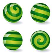 set of striped spheric icons - stock illustration