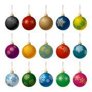 christmas balls set - stock illustration
