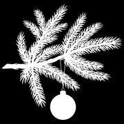 silhouette of pine tree branch with christmas ball - stock illustration