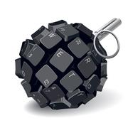 keyboard grenade - stock illustration