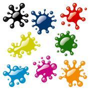 Set of color blots Stock Illustration