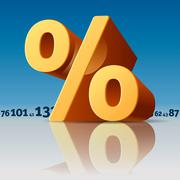 percent symbol with numbers skyline - stock illustration