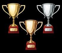 Set of three sport cups Stock Illustration