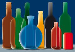 Group of alcohol bottles background Stock Illustration