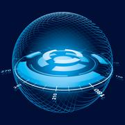 fantasy space navigation sphere - stock illustration
