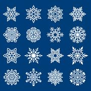 Stock Illustration of set of snowflakes ornament