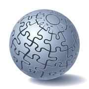 jigsaw puzzle sphere - stock illustration